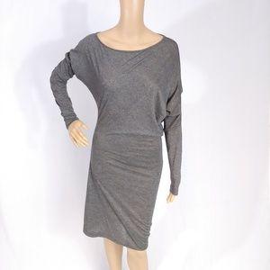 BCBGMAXAZRIA Grey Metallic Asymmetric Shirt Dress